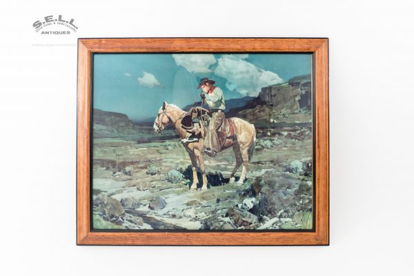 Western Lithograph Company framed Frank Tenney Johnson color lithograph Calendar Edition authentic